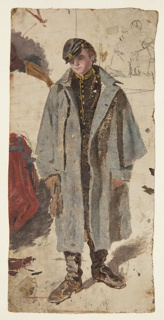 A young soldier stands in uniform, wearing a grey field cape. Sketched at left are different positions of the figure of a Zouave that are cropped. At upper right, a small study in graphite of a soldier giving water to a wounded comrade appears.
