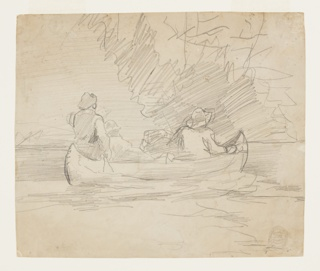 Sketch of a canoe containing three male figures and duffle bags, with slight indications of trees in the distance.