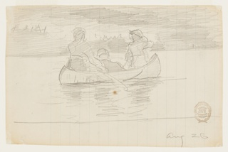 Sketch of a canoe, paddled by two male figures, with a third sititng in center; indication of trees and clouds in background.