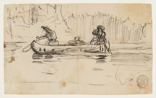 Sketch of two male figures in a canoe with indication of foliage in background.