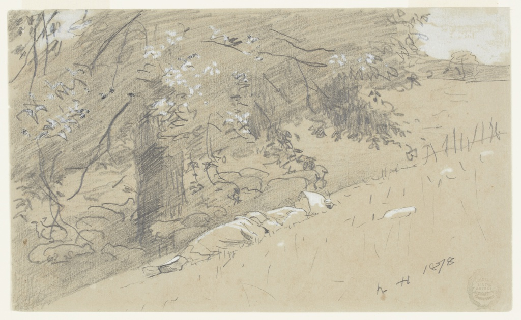 Sketch of a young figure in sunbonnet reclining on a hillside. In the background, a large tree with outspread branches shades numerous sheep gathered around the tree's base.