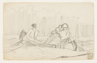 Oblique rear view of canoe, heading toward the left, paddled by two men, with a third men sitting in center; indications of turbulent current of a rapids, and of trees in background.