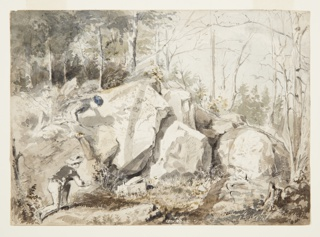 Sketch of two boys and a girl climbing over rocks in a wood and advancing towards a squirrel trap.