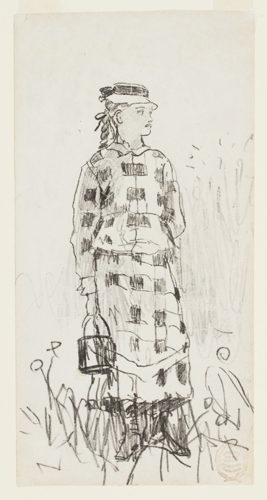 Vertical view of a standing girl, wearing a plaid dress and straw hat, holding a lunch  or berrying [?] pail and facing to her left.