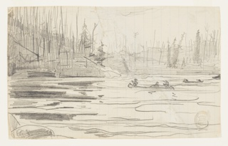 Sketch of canoes on a lake with trees in the distance.