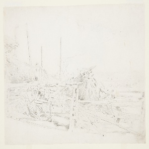 Recto: Sketch of a haystack and a rail fence, with meadows visible in the background. Verso: Sketch of a girl.