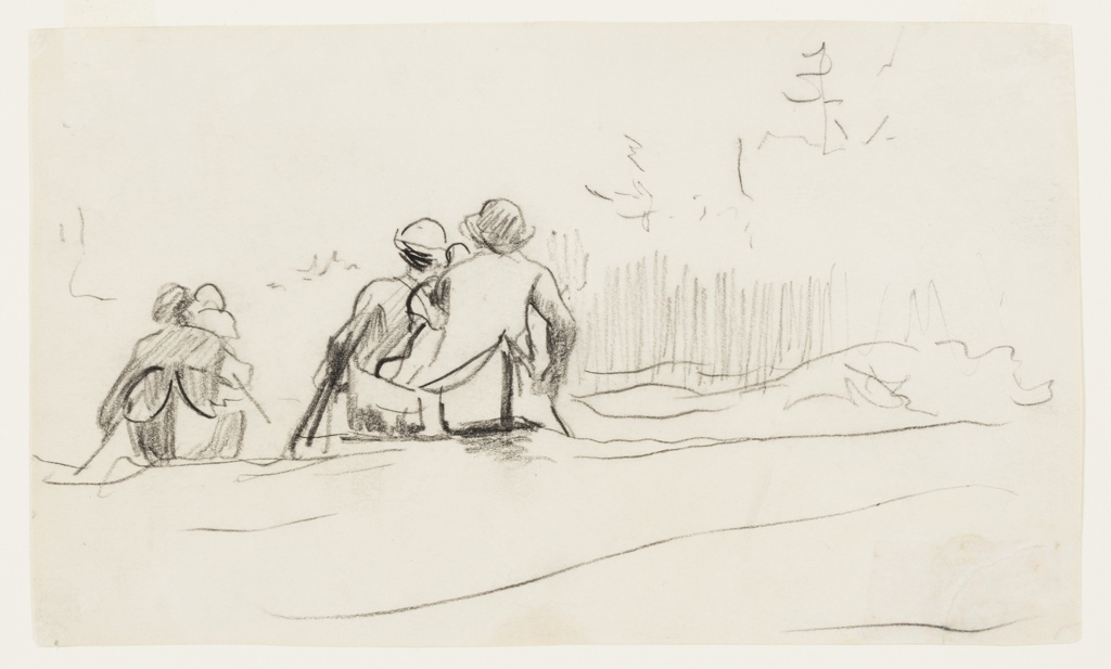 Sketch of two canoes going down rapids with slight indications of pine trees on father bank of the stream.