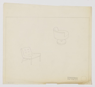 Drawing, Chair, Buttoned Upholster, ca. 1937