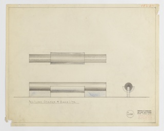 Design for drawer pull in polished chrome and Bakelite for Valentine-Seaver Company seen in front elevation, plan, and profile. At center left, elevation view describes cylindrical volume superimposed over metallic rectangle. Below, plan view indicates that metallic rectangle wraps the surface of cylindrical pull which is actually mounted on two rectangular volumes set perpendicular to pull. At lower right, profile view describes cylindrical pull whose surface is half-wrapped by the central metallic element. Upper right margin inscribed in orange color pencil: V. & S. B – 3. Margins ruled in graphite. Inscribed with Deskey No. 6106.