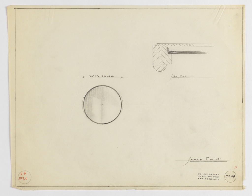 "Design for circular mirror shown in front elevation and a detail section of its mounts. At center left, elevation describes circular mirror with 30"" dimeter and mounts on either side. Above, at right, mount section detail describes curved-front mount layered outside of flat frame and mirror glass.  Margins ruled in graphite; Kroehler Mfg. No. 1020 inscribed in red pencil. Inscribed with Deskey No. 7304."