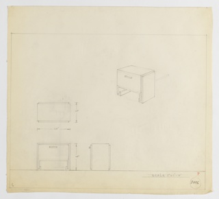 Design for end table with drawer seen in plan, front and side elevations, and perspective. At upper right, perspective shows rectilinear volume with pull-access drawer resting between two rectangular pier supports. Supports appear wrapped in secondary surface that is slightly shallower than overall table depth. At lower left, plan reveals object depth while below, front and side elevations provide additional dimensions. Margins ruled in graphite. Inscribed with Deskey No. 8006.