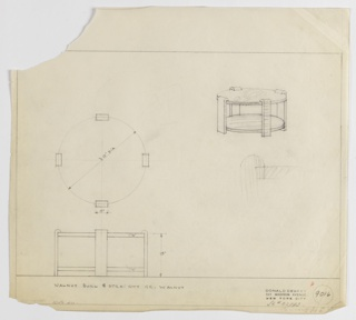 Drawing, Design for Low, Round Occasionable Table with Low Shelf