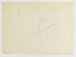 Design for lamp attachment seen in elevation. Semi-spherical fixture mounted onto arched section of articulating arm; upper section bent at spherical joint at 95-degree angle) and terminating with handle. Secondary sketch at upper left possibly shows additional view in elevation. Graphite border along lower margin.