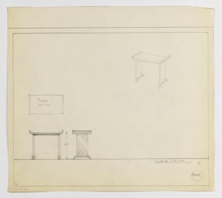 Design for end table seen in plan, front and side elevation, and perspective. At upper right, perspective shows rectangular table with up-curved tray-like top resting on two rectilinear piers the terminate at bottom in down-curved feet that mimic sides of tabletop. At lower left, plan and elevations indicate object dimensions. Margins ruled in graphite. Inscribed with Deskey No. 8010.
