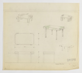 Design for low occasional table seen in plan, front and side elevations, and perspective with additional perspective sketches of variant designs. At center right, perspective shows rectangular tabletop with rounded corners, possibly glass, set into probably metallic brackets that wrap tabletop sides before extending downward in square-plan legs. At center left, lower left, and lower center, plan and elevations indicate object dimensions. At upper left, additional perspective sketch low, square occasional table with bracket-like legs at corners; similar design is shown in perspective at upper right, however these legs are solid piers that run object depth. Below, at center right, a third additional perspective sketch shows object similar to primary table however with leaves extending on either side. Margins ruled in graphite. Inscribed with Deskey No. 7695.