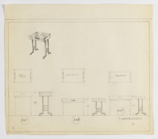 Three designs for an end table with one drawer seen in plan and front and side elevations, with one perspective at upper left. Perspective shows rectangular end table with drawer accessible by horizontally-oriented rectangular handle resting upon four square legs whose feet curve out and down creating a bracket-like silhouette; on either side, front and rear legs are connected by three tubular lengths at even intervals. Below, at left, plan and elevations for 28-inch tall table with 22x15-inch top. At center, plan and elevations for 20-inch high table with 27x16-inch tabletop. At right, plan and elevations for 23-inch tall table with 27x12-inch tabletop. Margins ruled in graphite. Inscribed, from left to right, with Deskey Nos. 8025, 8026, and 8027.