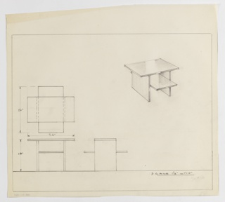 Design for low occasional table with shelf seen in plan, front and side elevations, and perspective. At upper right, perspective shows rectangular tabletop supported by and extending wider than two rectangular planes; these also support a thin shelf whose depth is greater than the tabletop. At center left, plan describes Greek-cross created by intersecting tabletop and shelf while below, at left and center, elevations provide further information about object composition. Margins ruled in graphite.