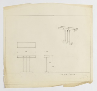 Design for rectangular console table with three-rod base seen in plan, front and side elevations, and perspective. At upper right, perspective shows rectangular tabletop supported by three cylindrical rods extending upward from smaller rectangular base. Front of tabletop accented by three circles where rods intersect it. At center left, plan shows object footprint while below, at left and center, elevations provide additional object dimensions. Ruled in graphite.