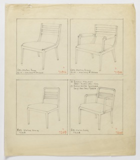 Drawing, Chair, Two Versions and A, 1930–1935