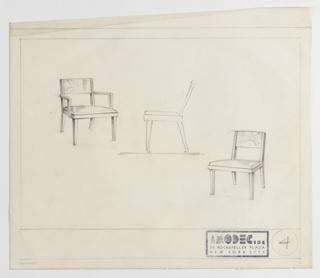 Drawing, Amodec: Armchair,  Sidechair, ca. 1931