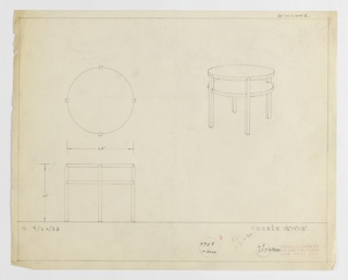Design for round end table with shelf in metal or wood seen in plan, elevation, and perspective. At right, perspective describes circular tabletop supported by four square legs whose top edges curve inward just below the surface. Below, they support a shelf at approximately two-thirds object height. At left, plan shows object footprint while below, elevation provides additional specs. Inscribed with Deskey No. 7088 for object in wood and Deskey No. 639B in metal. Margins ruled in graphite.
