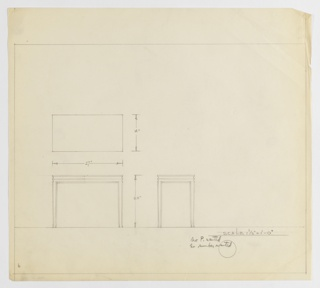Design for low, rectangular occasional table seen in plan and front and side elevations. At center left, plan shows object footprint while below, at left and center, elevations describe slightly tapered and outward curving square legs supporting rectangular tabletop whose edge is echoed by perimeter trim just below its surface. Similar dimensional elements ornament object's surface in elevations. Margins ruled in graphite. Inscribed with notes indicating that neither perspective drawing nor Deskey No. were desired.
