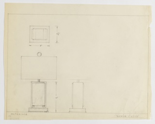 Design for table lamp in elevation, profile, and plan. At lower left elevation shows rectangular slab with graphite striations resembling marble veins whose perimeter is wrapped in another material (likely metal) whose feet terminate in inward-curling scrolls atop a rectangular base. Slender cylindrical rod to hold light bulb concealed by rectangular shade secured by ring-shaped finial. Profile at lower center reveals that base is deeper than marble volume, and that the latter is deeper than the secondary material that wraps it. At top left, object seen in plan from above without shade. Margins ruled in graphite.