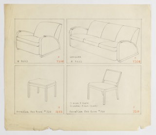 Drawing, Armchair/Sofa/Stool/Sidec, 1930–1935