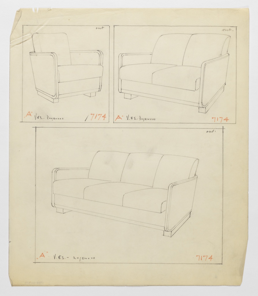 Drawing, Armchair, Loveseat & Sofa, 1930–1935