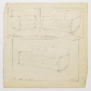 Drawing, Armchair, Loveseat & Sofa, 1930–1935