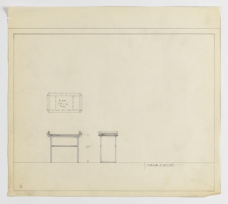Design for occasional table with tray top seen in plan and front and side elevations. At center left, plan indicates object components and footprint, while below at left and center, elevations (in graphite and blue color pencil) indicate rectangular table with rod stretchers across front and back planes at about two-thirds height supporting tabletop with upturned frame on either side in which similarly-shaped, removable tray rests. Margins ruled in graphite.