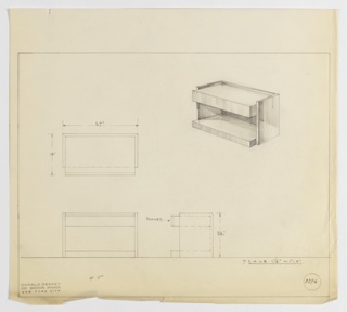 Design for low end table with drawer and shelf seen in plan, front and side elevations, and perspective. At upper right, perspective shows rectangular end table with closed back, thick lower shelf, and rectangular drawer just under tabletop. Drawer and top supported by rectangular planes that wrap object sides and rear. At center left, plan describes object footprint while below, left and center, elevations provide additional details regarding placement of drawer. Margins ruled in graphite. Inscribed with Deskey No. 8296.