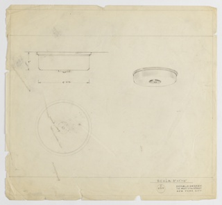 Design for ceiling light seen in elevation, plan and perspective. Fixture is squat cylinder attached to ring affixed to ceiling and secured by circular disc with bolt. Inscribed with Deskey No. 6314.