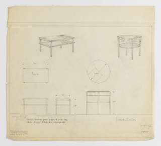 Two designs for end tables—one rectangular, the other round—with swirl mahogany tops and shelves and lacquered legs, apron, and edges. At upper left, rectangular version seen in perspective: four slightly tapered, square-plan legs with curved upper edge support tabletop and one shelf at approximately two-thirds object height. Below, table seen in plan and front and side elevations that provide dimensions. At upper right, round version shown in perspective. Tabletop is circular with small drawer and, along with shelf, are supported by four legs similar to those employed by rectangular version. Below, round table shown in plan and elevations with dimensions. Margins ruled in graphite. Inscribed with Deskey No. 7800.