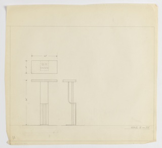 Design for high stand or pier table seen in plan from above and rear and side elevations. At center left, plan indicates object footprint as well as relative depths and shapes of its components. Below, front and side elevations further indicate that rectangular tabletop is supported by two cylindrical tubes on either side of which secondary supports extend from a smaller rectangular base, curve forward and then upward to intersect the surface at a perpendicular angle. The exact composition of these support elements is unclear without perspective or detail drawings. Margins ruled in graphite.