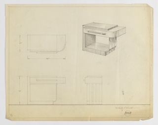 Design for end table seen in plan, front and side elevation, and perspective. At right, perspective shows rectilinear table with top, left, and lower sides in wood with right supports comprised of three bombé metallic slats. Drawer with wide rectilinear pull is curved at right and cantilevers over support slats. At upper left, plan reveals object's streamlined shape while below at left and right, profile views provide further details about object depth and dimensions. Margins ruled in graphite. Inscribed with Deskey No. 8029.