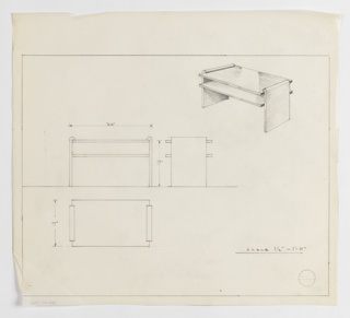 Design for low occasional table with shelf seen in perspective, front and side elevations, and plan. At upper right, perspective shows rectangular tabletop supported by two flat planes on either side with upper edges that terminate in inward curves. Planes also support shelf at approximately two-thirds object height. Both tabletop and shelf are deeper than supports. At left, elevations and plan provide object dimensions and describe silhouette and footprint. Margins ruled in graphite.
