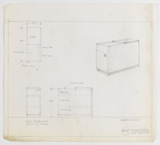 Design for rectangular phone and magazine cabinet with sliding top seen in plan, front and side elevations, and perspective. At upper right, perspective shows rectangular volume with sliding top underneath top-most tabletop plane. At left, cabinet has door accessed by half-shield-shaped pull. Cabinet rests on rectangular foot with slightly smaller perimeter. At right, plan reveals object footprint and details various components including: pencil tray, pad space, and phone space as well as the door opening. Below, at left, front elevation provides additional information about interior structure while at center, side elevation gives further information about placement of sliding top, space for two phones, pad, and pencil, as well as square nook for phone books (at left) and rectangular nook for magazines (at bottom, running object depth). Margins ruled in graphite with materials and specs indicated in the same. Inscribed with Deskey No. 8537.