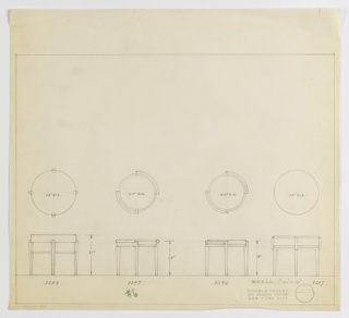 Designs for four round occasional tables. From left to right: plan and elevation for 12-inch tall table with 24-inch diameter tabletop, modern cabriole legs, and shelf at two-thirds height (Deskey No. 8244); plan and elevation for 18-inch tall table with 20-inch diameter tabletop, rectilinear tapered legs, and rounded element around perimeter of tabletop (Deskey No. 8245); plan and elevation for 18-inch tall table with 20-inch diameter tabletop, rectilinear tapered legs, and streamlined border around tabletop perimeter (Deskey No. 8246); plan and elevation for table of unspecified height and 24-inch diameter tabletop, rectilinear tapered legs, and wide band around tabletop with vertical elements extending upward to hold surface (Deskey No. 8247). Margins ruled in graphite.