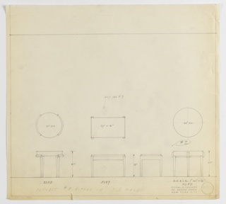 Designs for three occasional tables. At left, plan and elevation for 21-inch tall table with 21-inch diameter tabletop supported by four tapered legs that extend downward from round, semicircular mounts (Deskey No. 8248). At center, plan and front and side elevations for 18-inch tall table with 27x16-inch tabletop supported by four gently tapered legs with curved outer edges (Deskey No. 8249). At right, plan and elevation for 21-inch tall table with 24-inch diameter tabletop and gently tapered legs (Deskey No. 8250). Margins ruled in graphite.