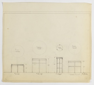 Four designs for round occasional tables with modern cabriole legs. From left to right: plan and elevation for 16-inch tall table with 24-inch diameter tabletop; plan and elevation for 27-inch tall table with 27-inch diameter tabletop and single circular stretcher at two-thirds height; plan and elevation for 30-inch tall table with 12-inch diameter tabletop and two circular stretchers at one- and two-thirds height reinforcing three legs; plan and elevation for 23-inch tall table with 24-inch diameter tabletop and circular stretcher at just above one-half height. In each design, tabletop consists of upper and lower surfaces sandwiching secondary, smaller concentric circle; legs are gently swollen above and terminate in tapered, outward-turned feet. Inscribed, from left to right, with Deskey Nos. 8183, 8184, 8185, and 8186. Margins ruled in graphite.