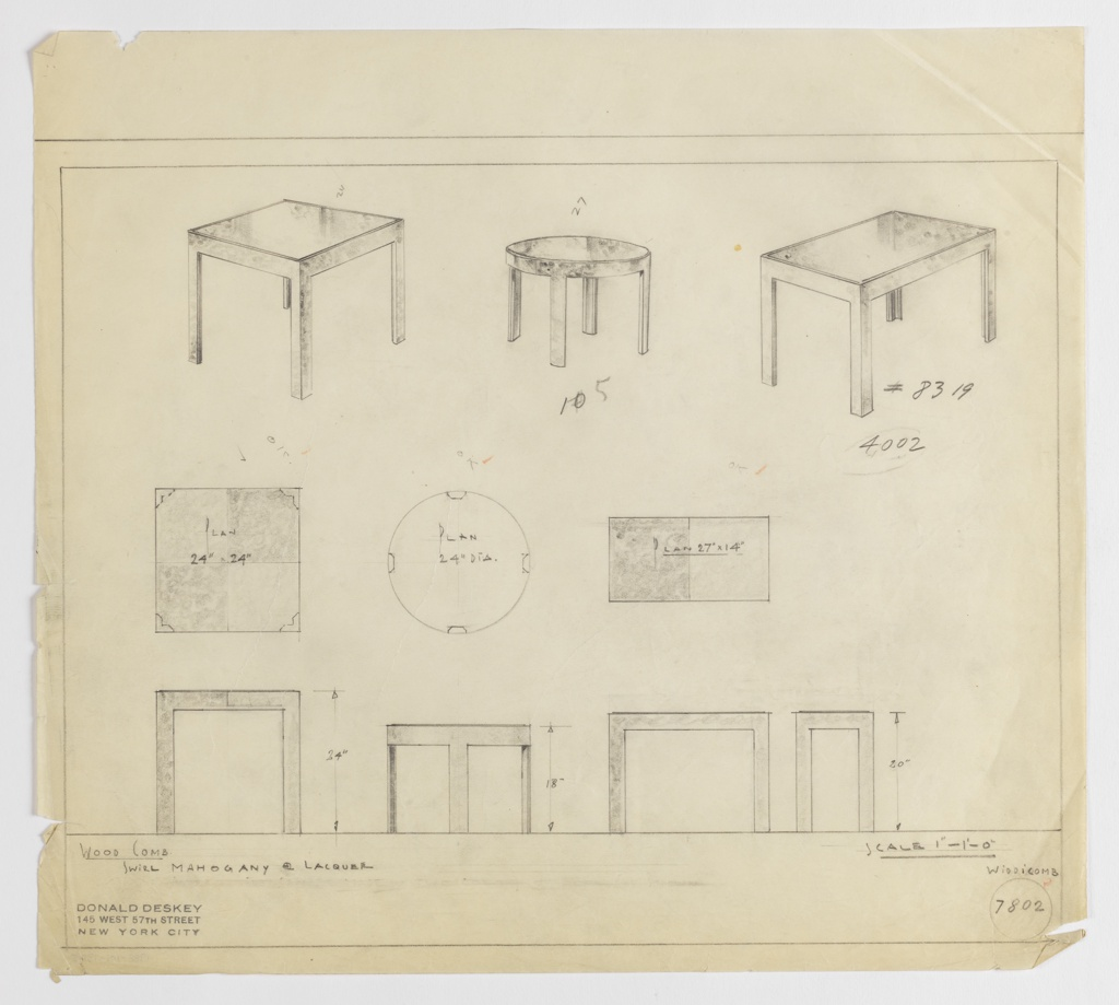 Three designs for end tables in swirl mahogany and lacquer—square, round, and rectangular—for Widdicomb Furniture Company, each seen in perspective, plan, and elevation. At upper left, perspective of square table with L-shaped legs at corners; below, plan and elevation. At center, round table with four legs with beveled interior planes; below, seen in plan and elevation. At upper right, rectangular table with L-shaped legs seen in perspective; below, plan and elevation. Dimensions indicated in graphite; margins ruled in the same. Inscribed with Deskey No. 7802.