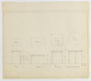 Four designs for end tables with tapered legs seen in plan and front elevation. From left to right: plan and elevation for 27-inch tall table with 18x13-inch tabletop; plan and elevation for 18-inch tall table with 27x15-inch tabletop; plan and elevation for 26-inch tall table with 22x22-inch tabletop; and plan and elevation for 27-inch tall table with 27-inch diameter tabletop. In each design, tabletops are set into base consisting of tabletop mount that gently curves into tapered legs. Inscribed, from left to right, with Deskey Nos. 8161, 8162, 8163, and 8169. Margins ruled in graphite.