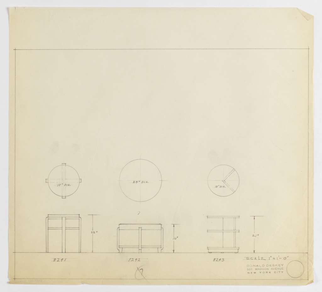 Designs for three round occasional tables. At left, plan and elevation for 22-inch tall table with 18-inch diameter tabletop and four X-crossed legs and shelf (or circular stretcher). Assigned Deskey No. 8241. At center, plan and elevation for 16-inch tall table with 24-inch diameter tabletop and lower shelf; supported by four inward-curved legs with outward-curved feet. Assigned Deskey No. 8242. At right, plan and elevation for 21-inch tall table with 18-inch diameter tabletop and shelves below on base and approximately two-thirds height. Tabletop and shelf supported by wedge-shaped vertical supports that delineate one-quarter of object footprint atop circular base with three shallow feet. Assigned Deskey No. 8243. Margins ruled in graphite.