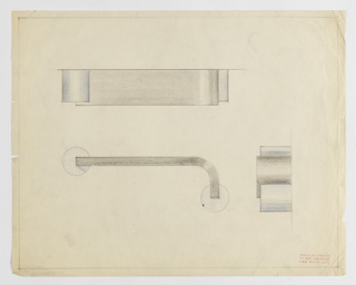 Design for drawer pull, probably in aluminum or polished chrome, seen in plan, elevation, and profile. At upper left, plan indicates tri-partite composition of layered, curved forms. Below, at left, elevation shows curved, L-shaped pull mounted on or set into two circular settings of different material. At lower right, profile shows additional view of layering of volumes. Margins ruled in graphite.