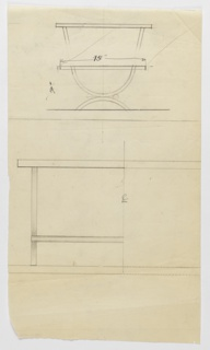 """Design for occasional table with U-shaped legs in two different heights seen in side and partial front elevations. At top, drawing shows low table measuring 19"""" high with 15"""" deep tabletop resting on U-shaped support positioned on inverted U-shaped base; above, a partially erased design for a taller table whose upper support is a parabola (as opposed to a U). Below, partial front elevation reveals that circular elements at joining of U-shaped supports are cylindrical bars extending object width (center line indicated by """"CL"""" in graphite)."""
