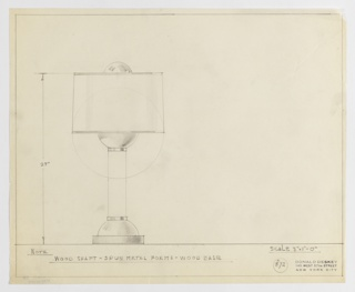 Design for table lamp seen in elevation. Cylindrical wood base supports spun-metal hemisphere from which rises a cylindrical wood shaft. A second spun-metal hemisphere rests atop the wood shaft and is crowned by cylindrical shade and accented by a third spun-metal hemispherical finial. Materials and dimensions indicated in graphite. Margins ruled in graphite. Inscribed with Deskey No. 372.