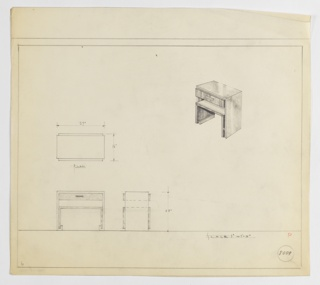 Design for end table with drawer and shelf seen in plan, front and side elevations, and perspective. At upper right, perspective shows rectilinear table with drawer with horizontal, rectangular pull and shelf immediately below. Shelf and drawer comprised of interior elements that are wrapped by secondary surface that angles underneath and terminates at underside. At lower left, plan reveals object depth while below front and side elevations provide additional views and dimensions. Margins ruled in graphite. Inscribed with Deskey No. 8009.