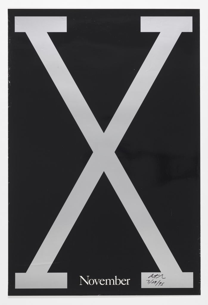"Poster for Spike Lee film, ""Malcolm X."" Features a large grey X on a black background with ""November"" in small white letters at bottom. Includes a thin grey border."