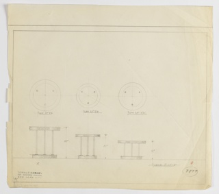 Three designs for round table, each shown in plan and elevation. At left, design for 27-inch tall table with round base and three cylindrical supports on which rests a 27-inch diameter tabletop. At center, similar design but height and diameter are 21 inches. At left, similar design but height is 16 inches and diameter is 24 inches. Margins ruled in graphite. Inscribed with Deskey No. 7877.